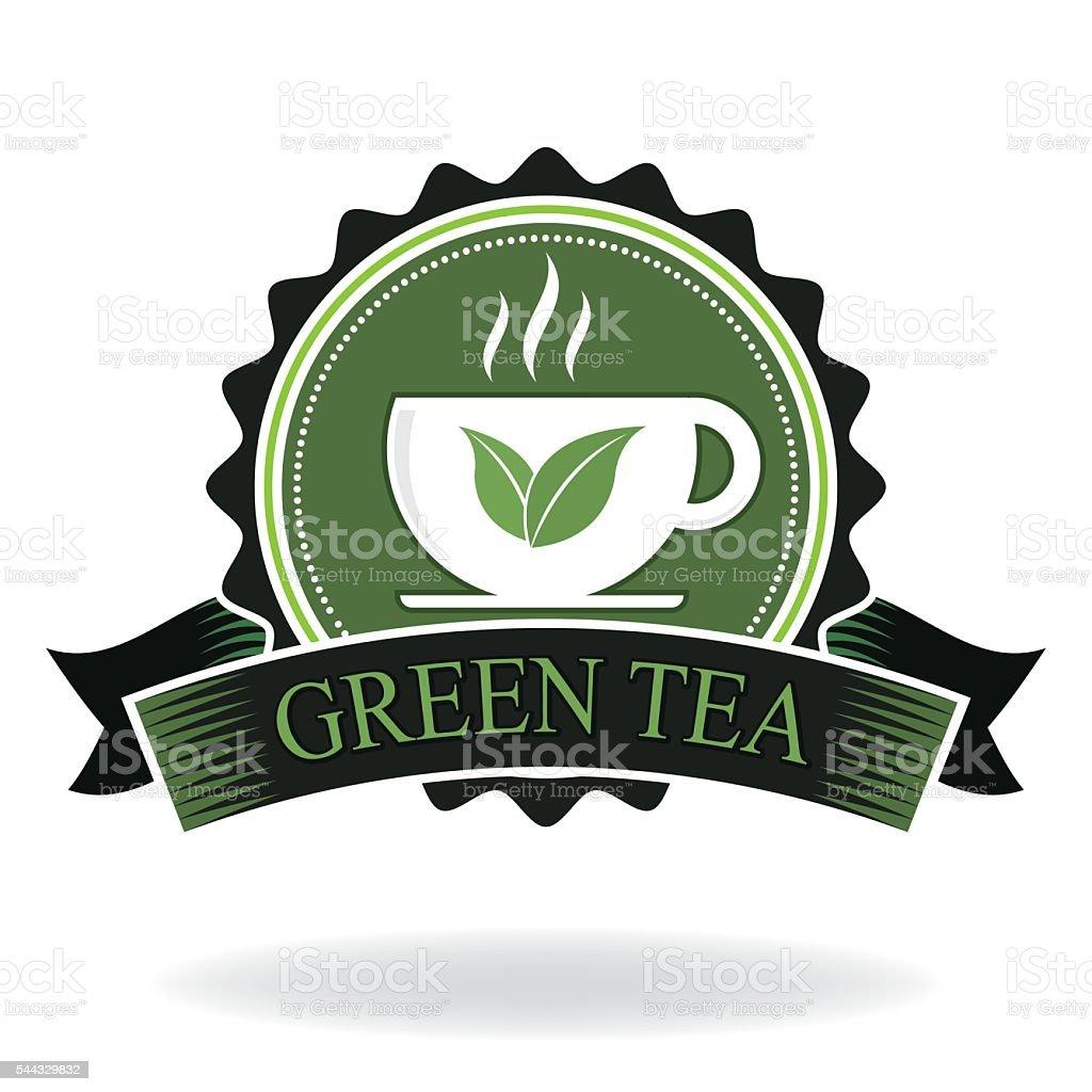green tea badge vector art illustration