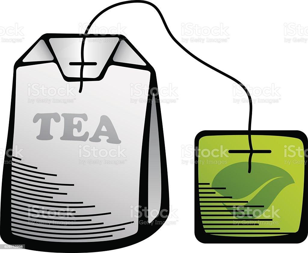 green tea bag icon vector art illustration