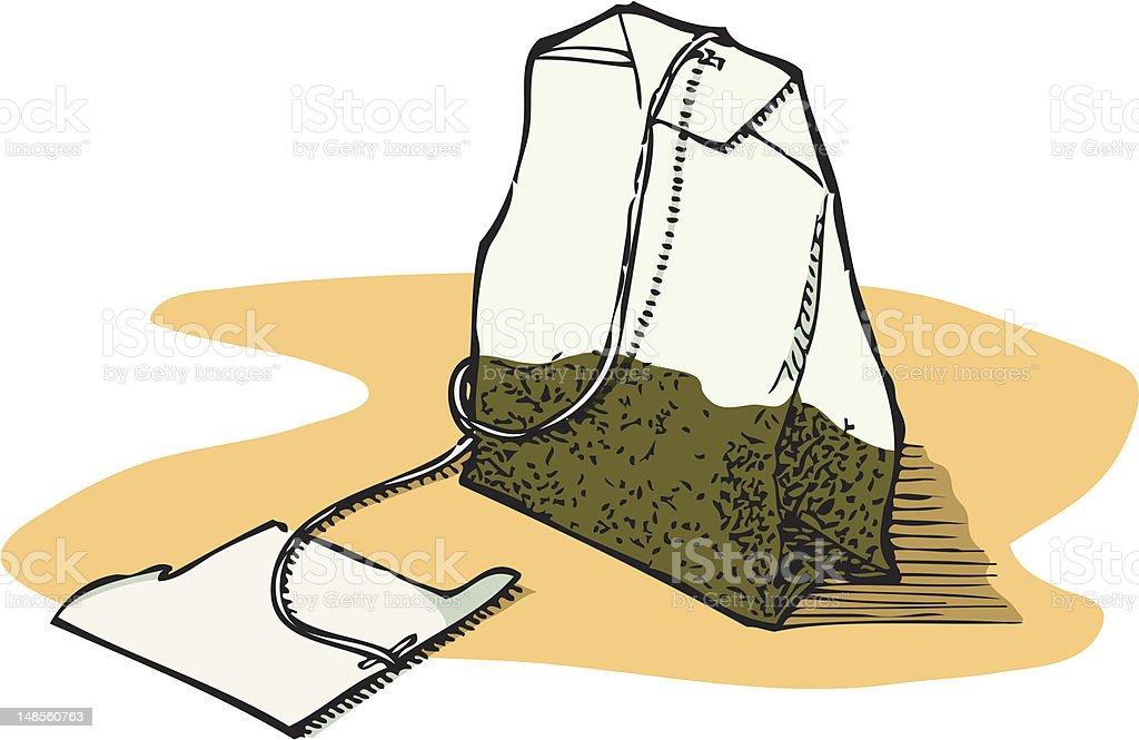 Green Tea Bag royalty-free stock vector art