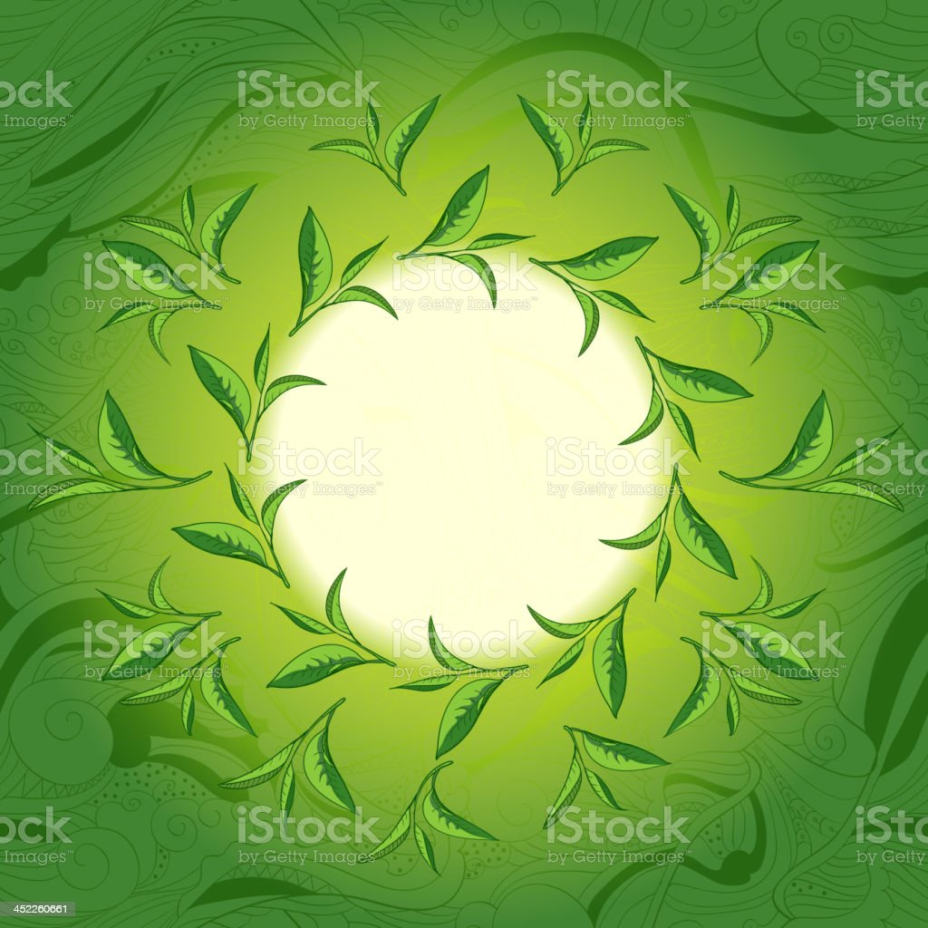 Green tea leaves label (place for your text) royalty-free stock vector art