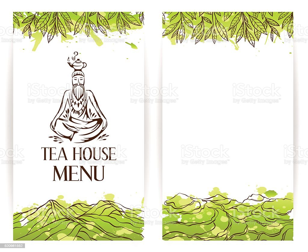 Green tea menu template. Zen monk with teapot logo vector art illustration