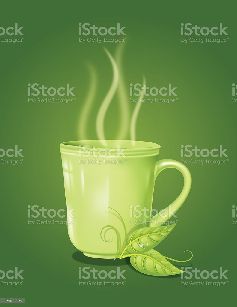 Green Tea Mug with Swirly Steam on a Green Background vector art illustration
