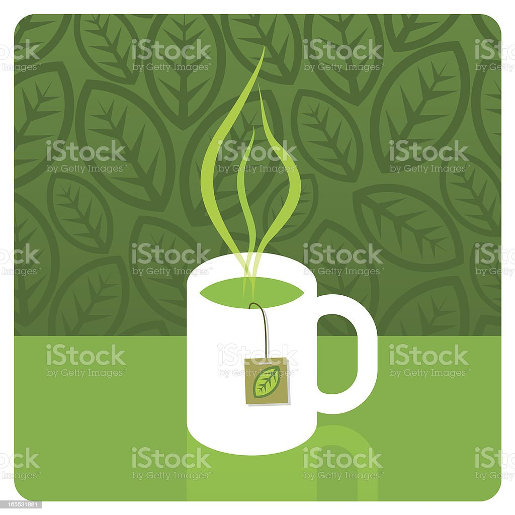 Green tea vector art illustration