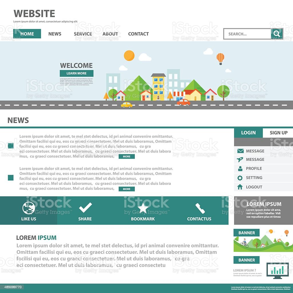 Green Template Web Flat Design For Website Stock Vector Art 485099770 Istock