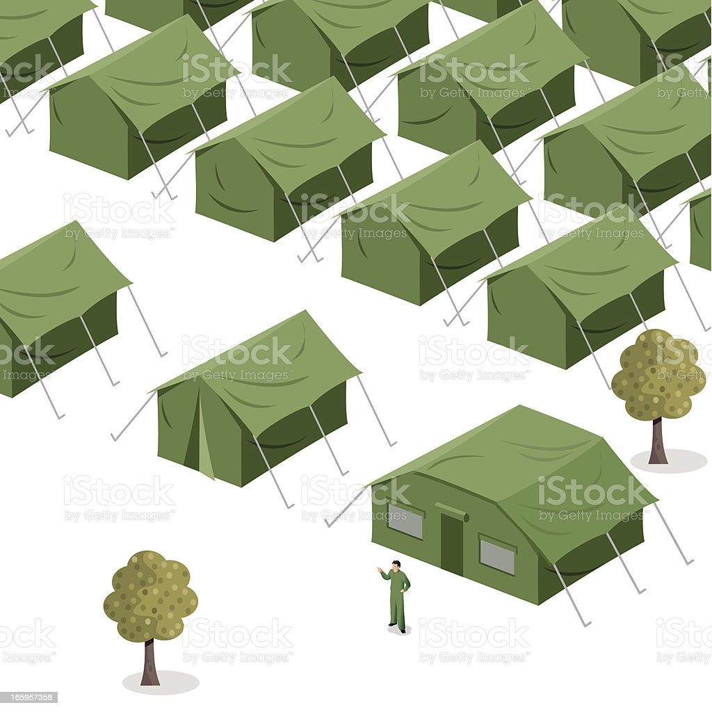 Green Tents vector art illustration