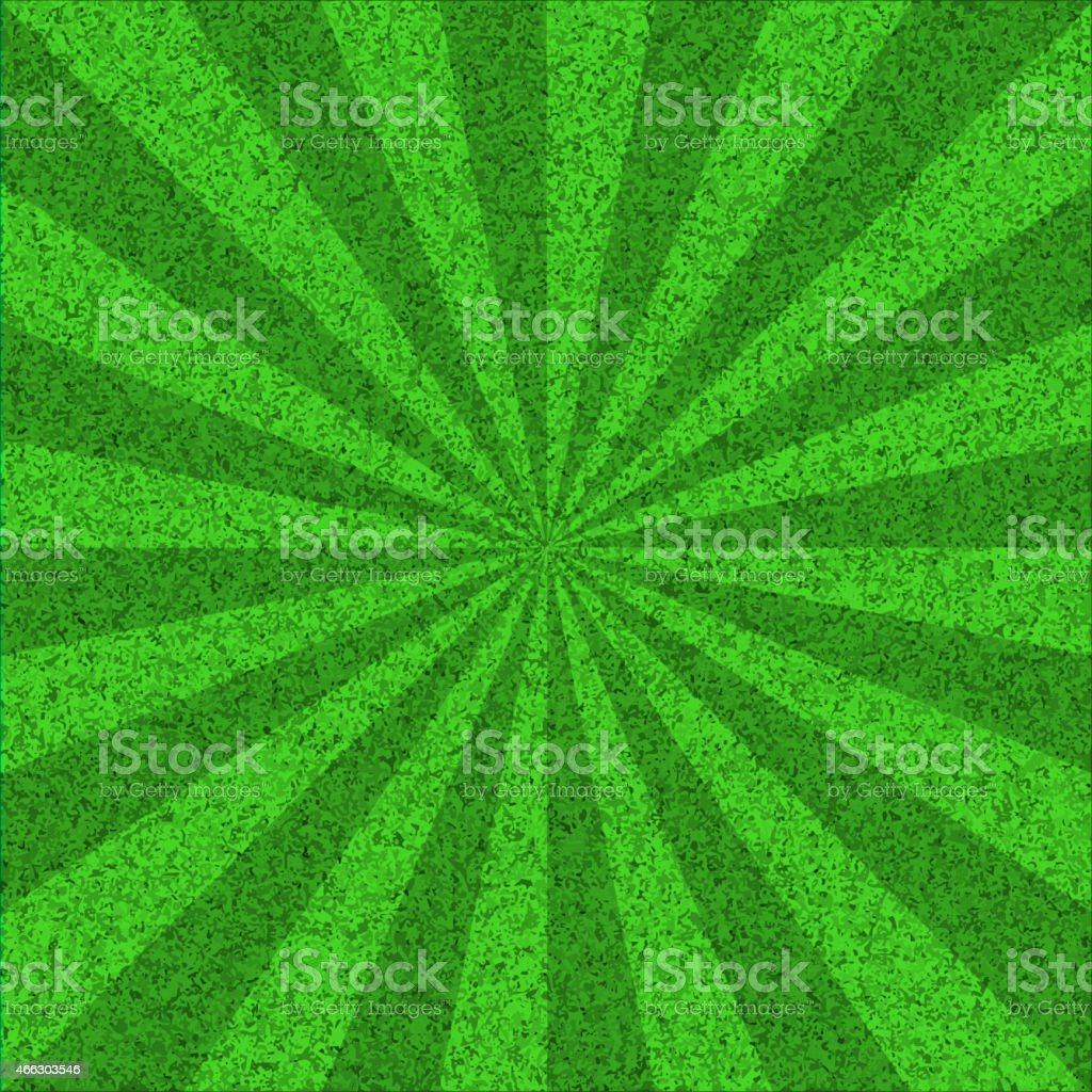 Green textured burst background with rays. vector art illustration