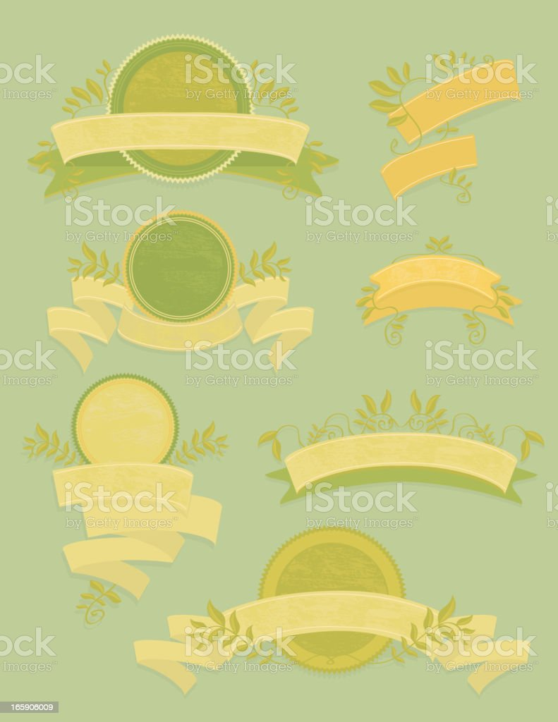 Green themed set of ribbons and laurels vector art illustration