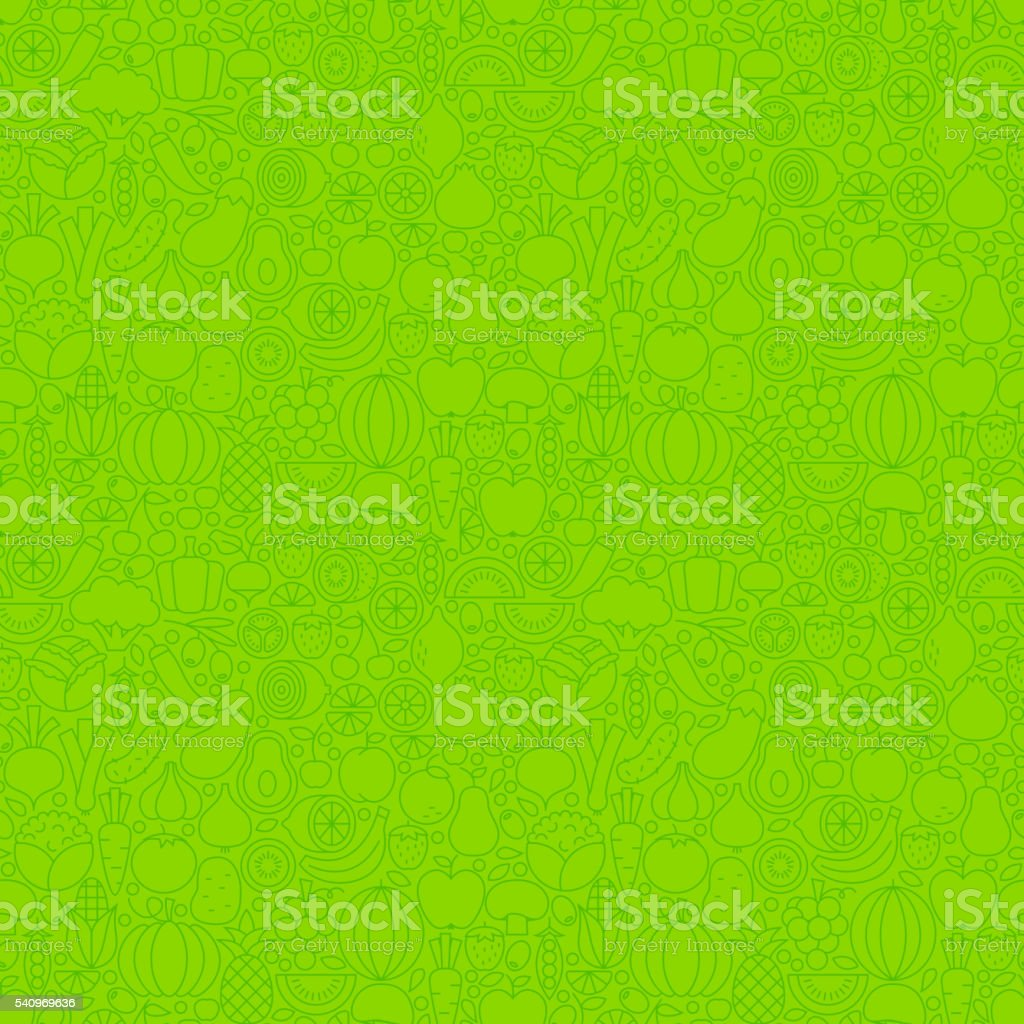 Green Thin Line Fruits Vegetables Seamless Pattern vector art illustration