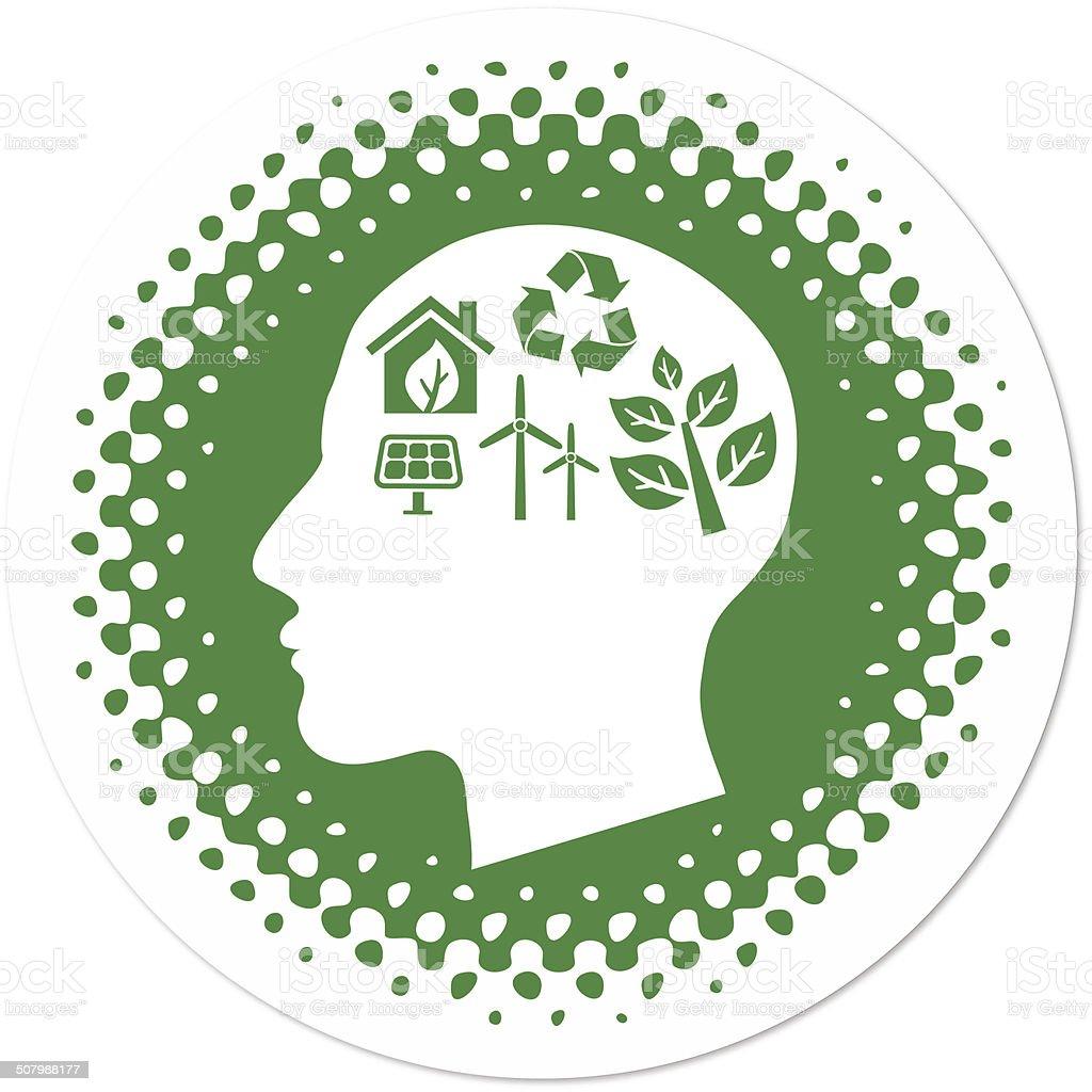 Green Thinking on Halftone Badge vector art illustration