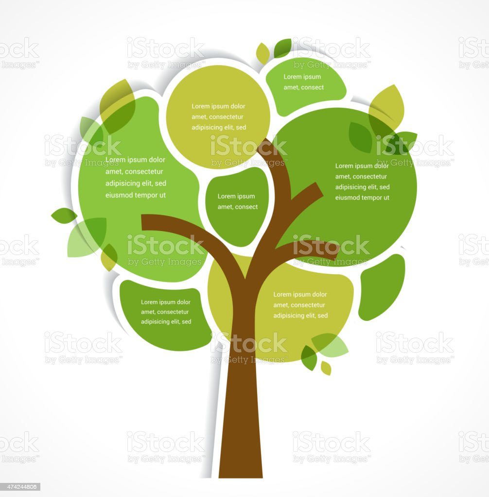 Green tree - background and infographics vector art illustration