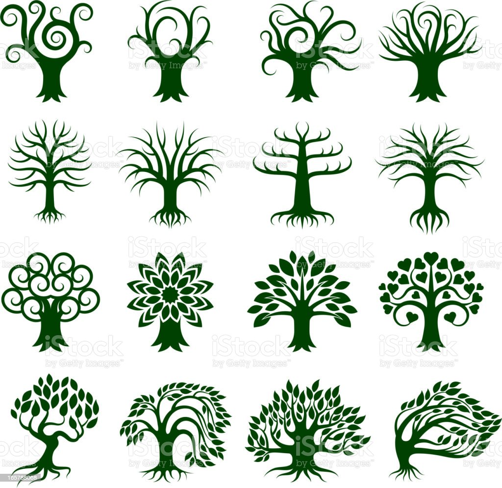 Green Tree Collection royalty free vector icon set vector art illustration