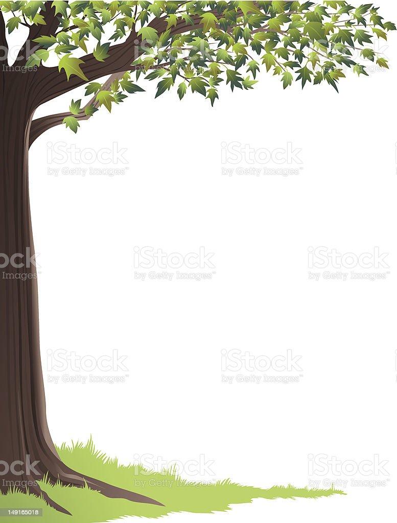 Green Tree Frame vector art illustration