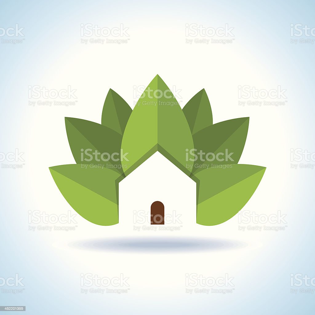 Green tree house icon remarks importance on bio ecology royalty-free stock vector art