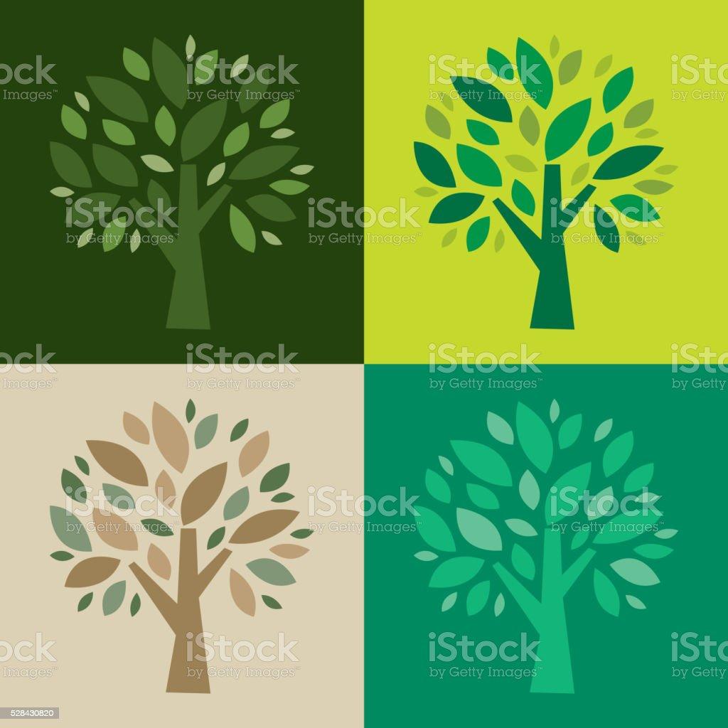 Green tree icon set vector art illustration