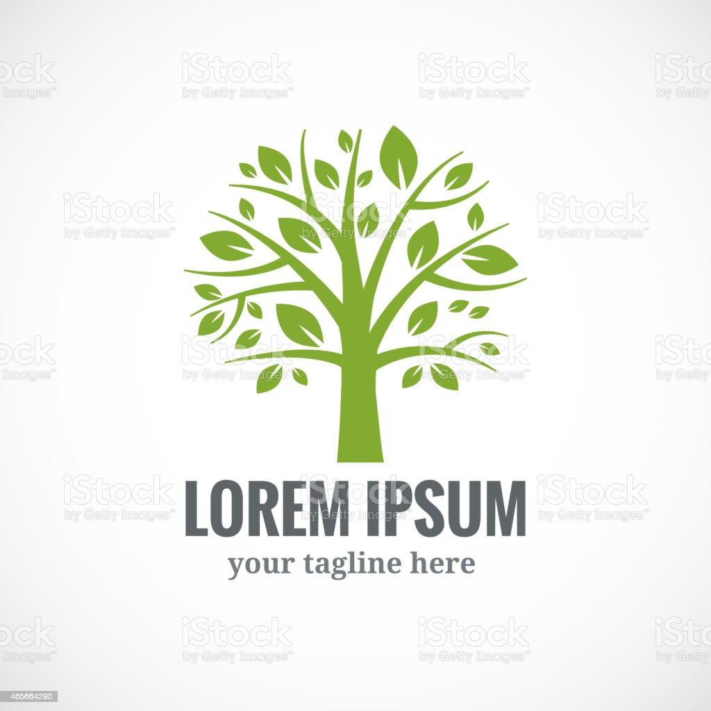 Green tree vector logo design template vector art illustration