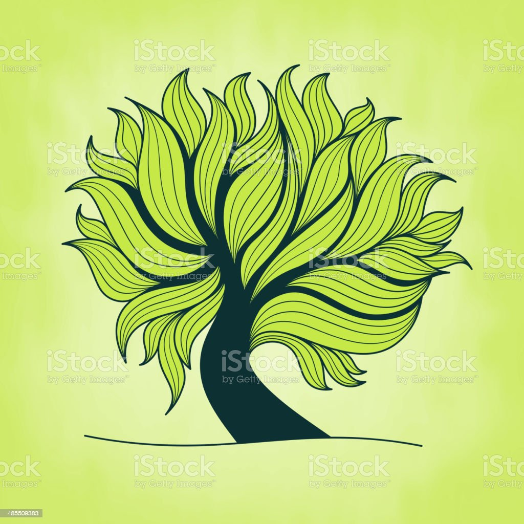 Green tree with branches and leaves royalty-free stock vector art