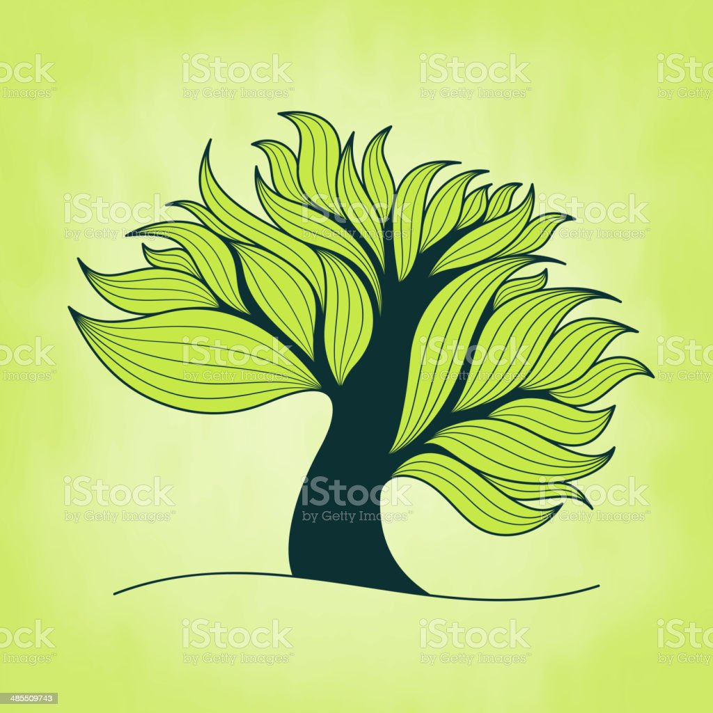 Green tree with branches and leaves vector art illustration