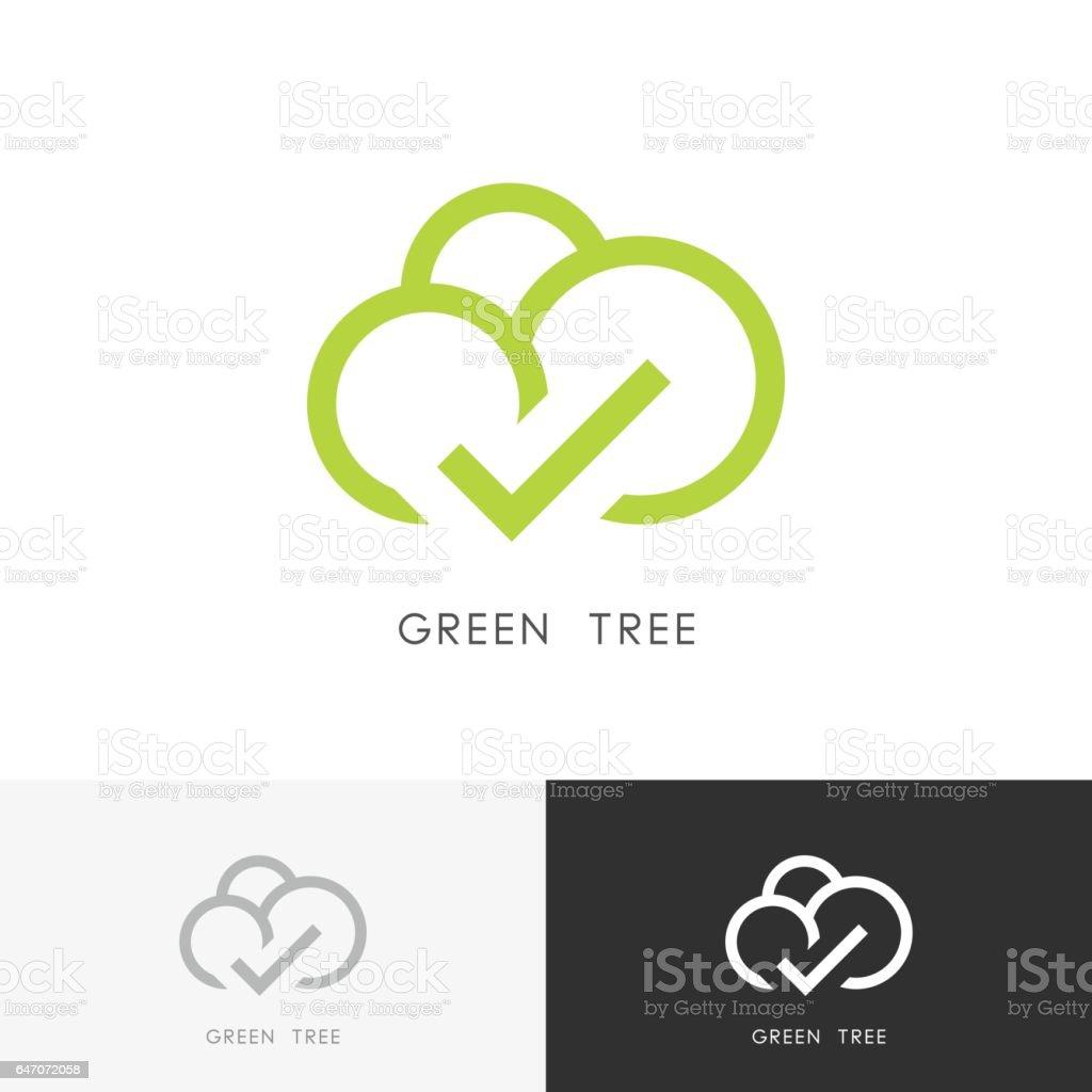 Green tree with check mark vector art illustration