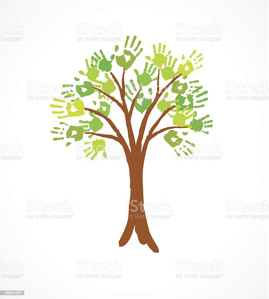 Green tree with leaves made of handprint vector art illustration