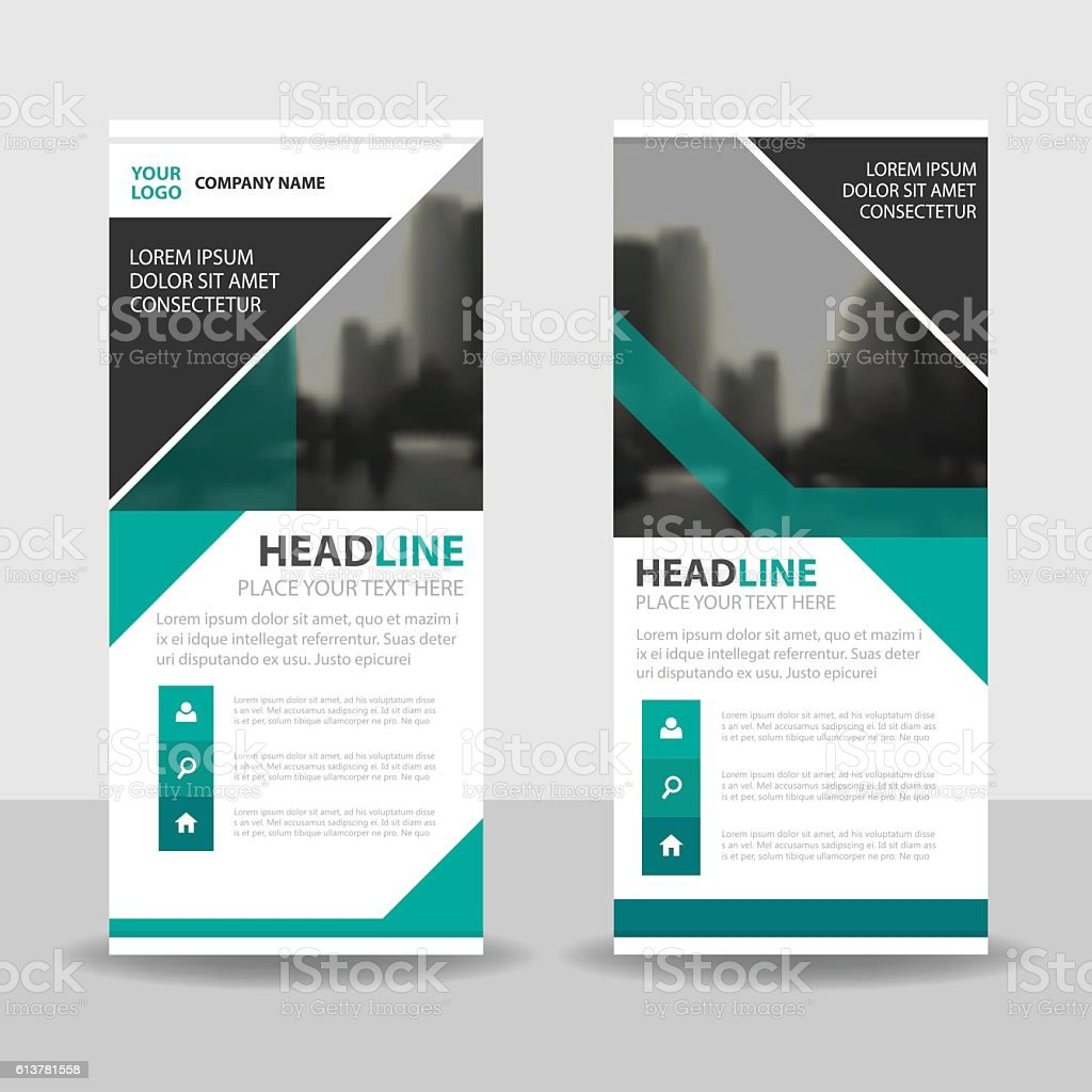 green triangle business roll up banner flat design template green triangle business roll up banner flat design template abstract royalty stock vector art