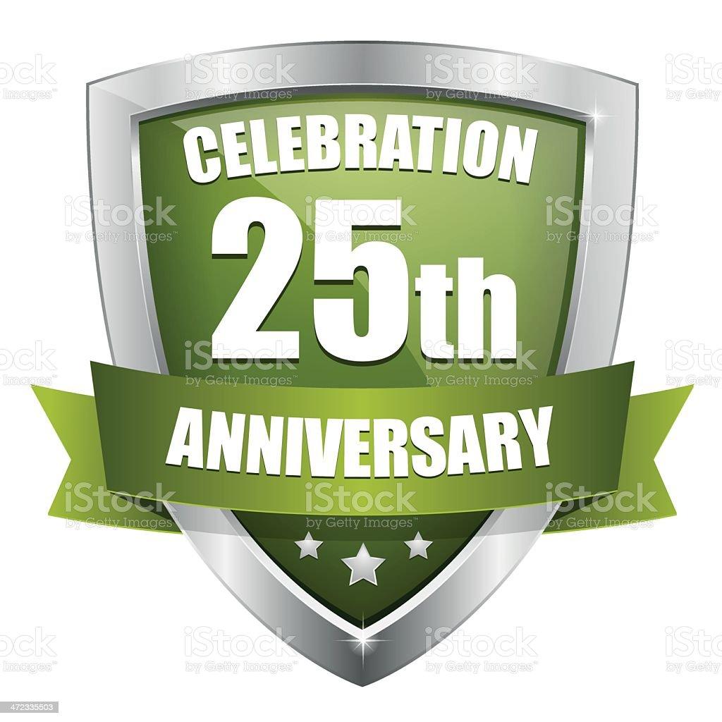 Green twenty-five year anniversary button royalty-free stock vector art