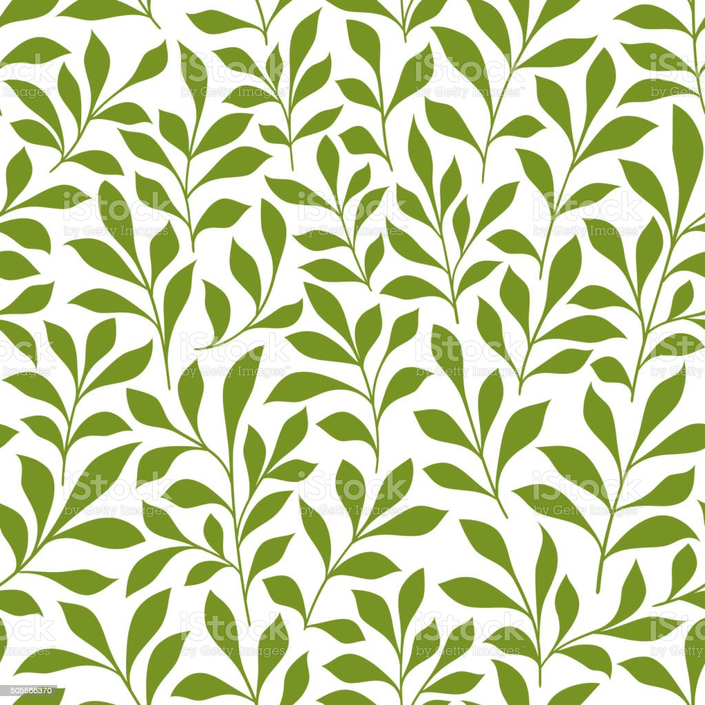 Green twigs with leaves seamless pattern vector art illustration