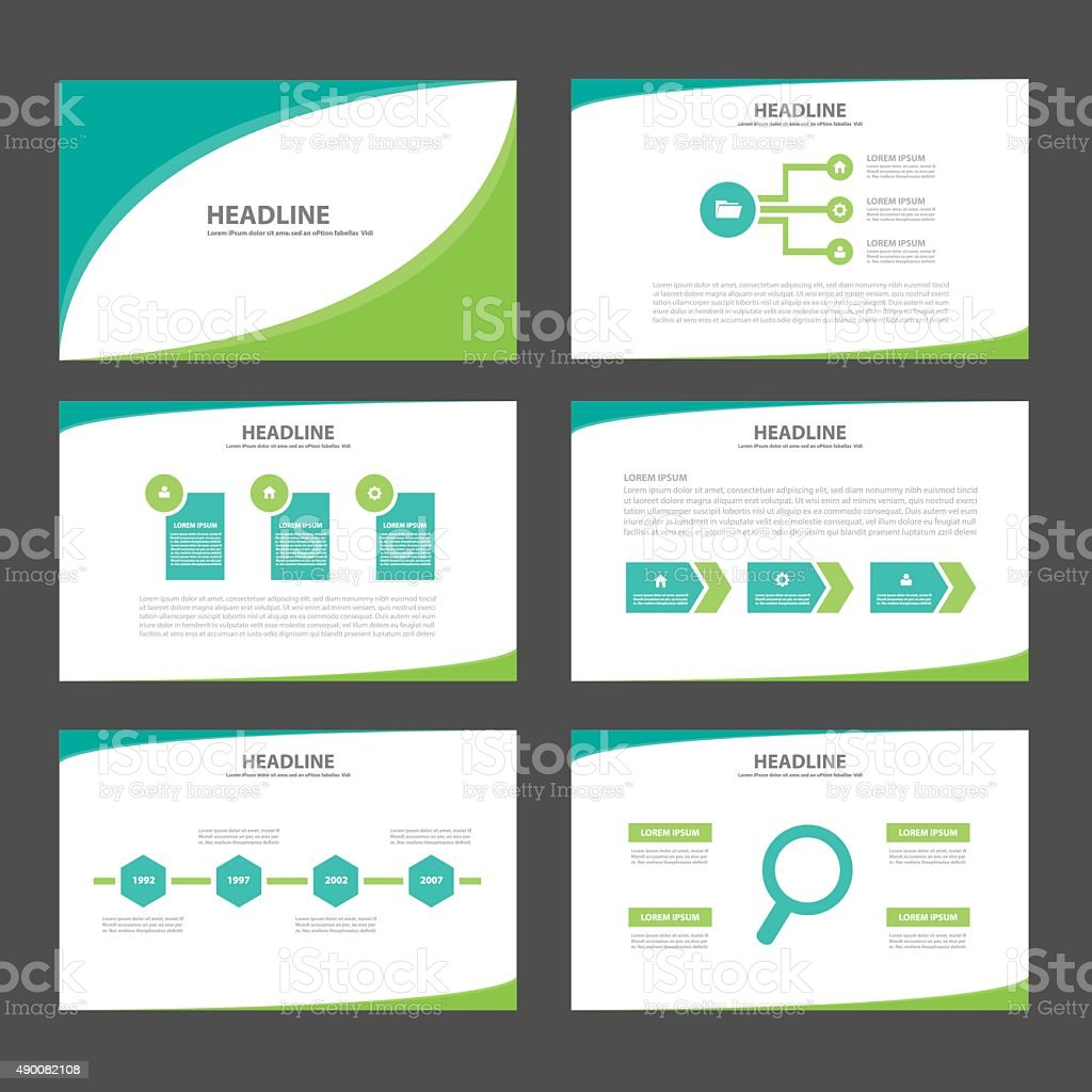 Green two tone presentation template Infographic brochure flyer set vector art illustration