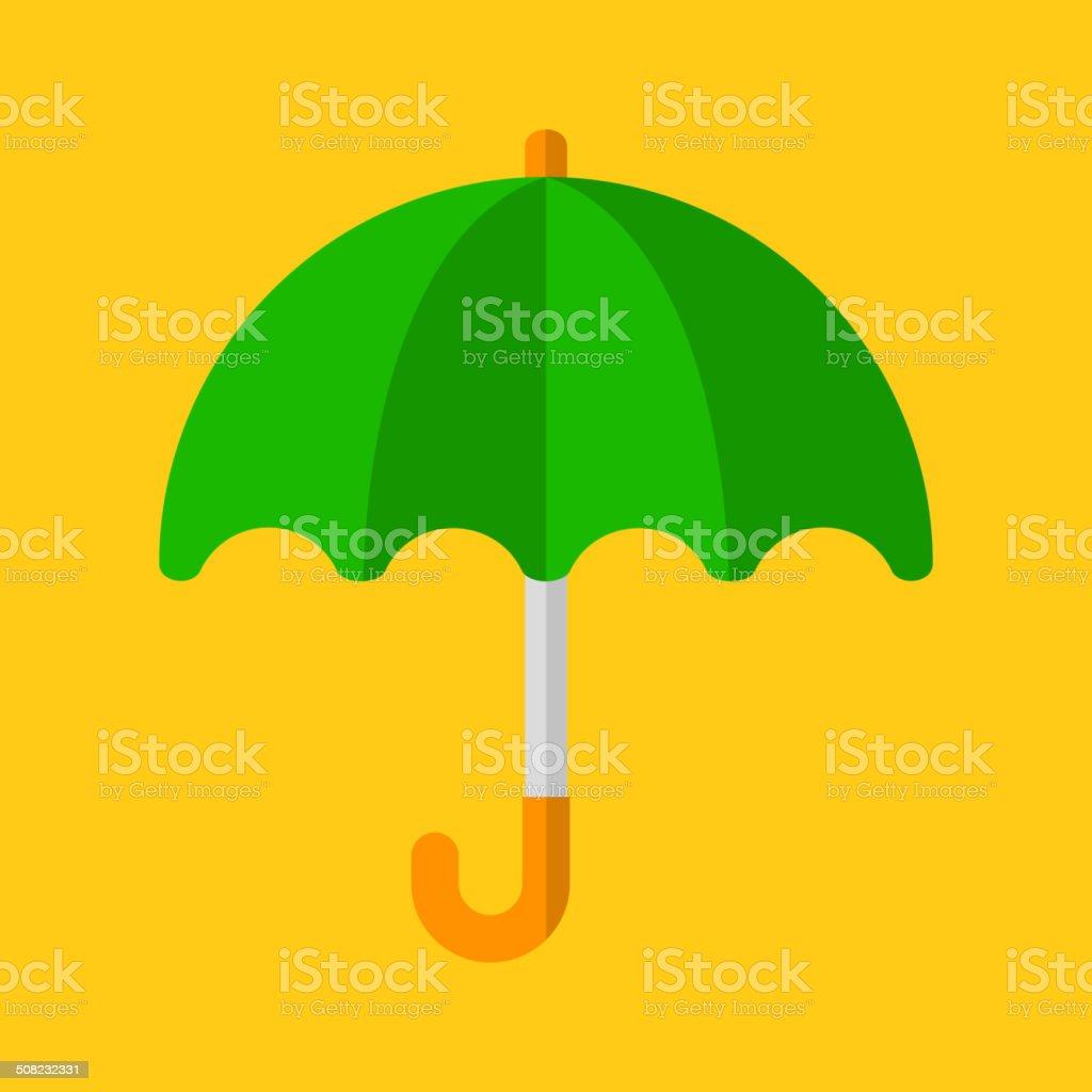 Green Umbrella Icon in Flat Design Style. Vector royalty-free stock vector art