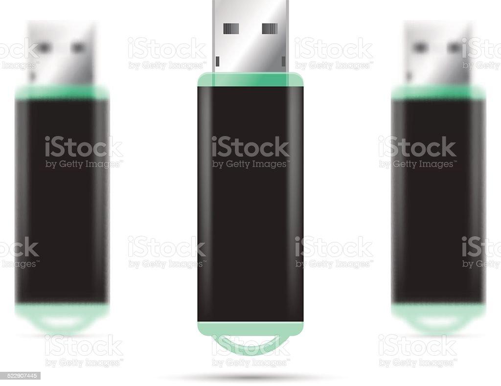 Green USB Flash Drive isolated set vector art illustration