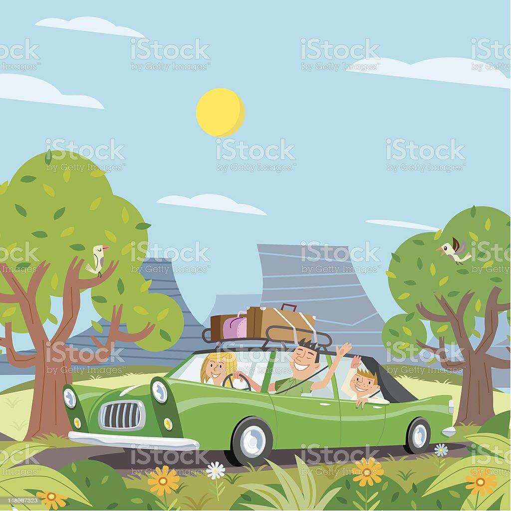 Green Vacation vector art illustration