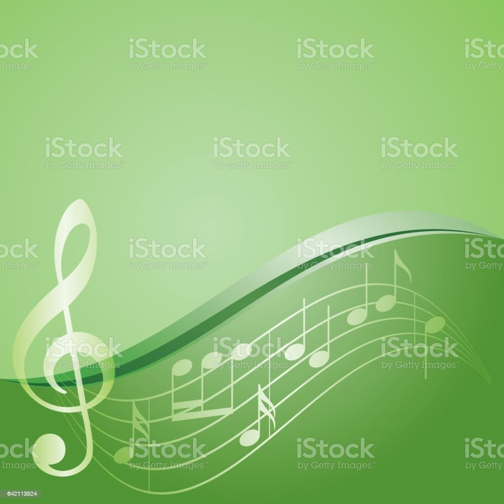 green vector background - curved music notes vector art illustration