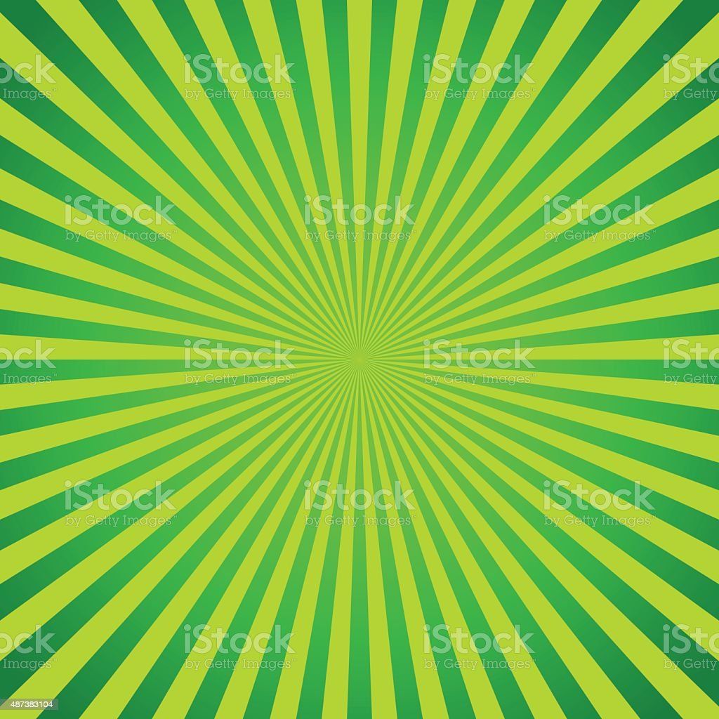 Green vector background of radial lines. Comic book vector art illustration