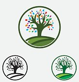 Green vector tree and multi color leafs