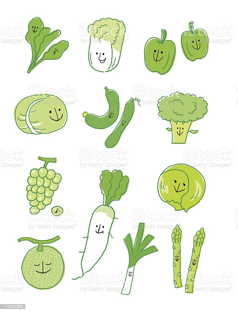 Green vegetable and fruit royalty-free stock vector art