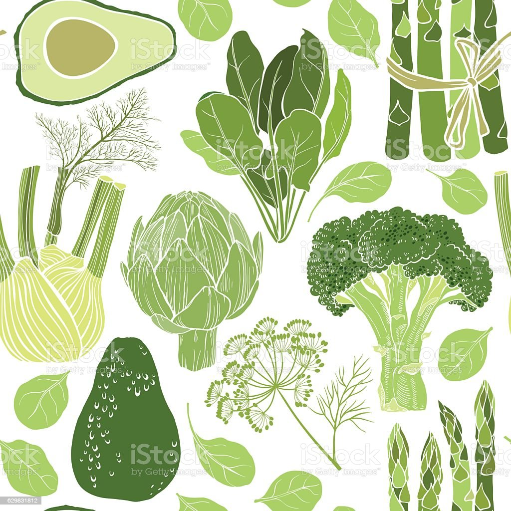 Green vegetables. Seamless vector pattern. vector art illustration