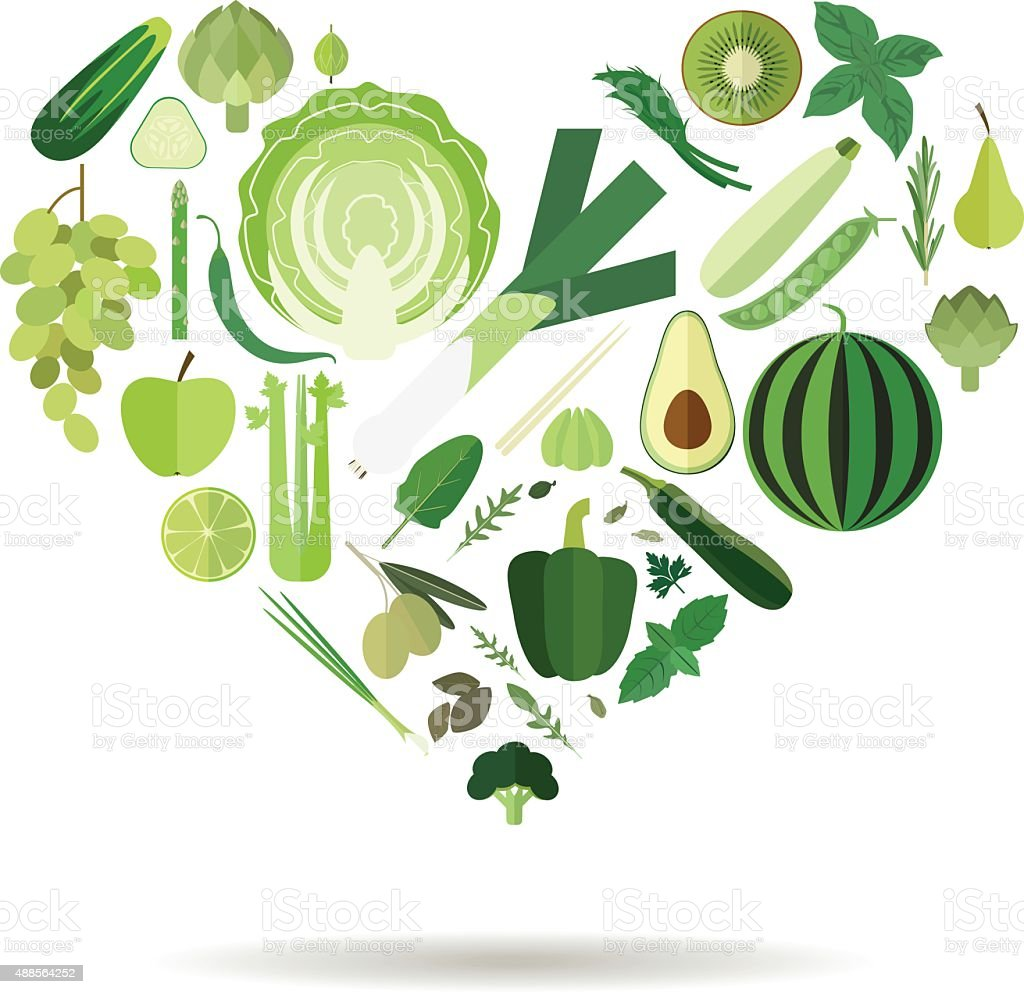 green vego heart vector art illustration