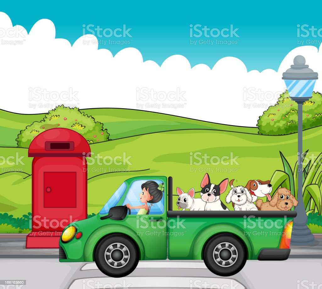 green vehicle with dogs at the back royalty-free stock vector art