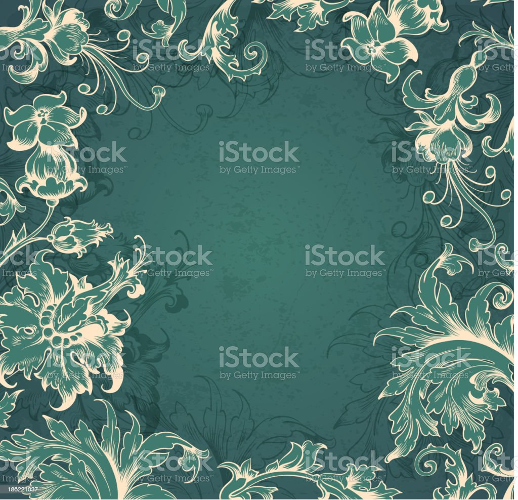 Green  Victorian background royalty-free stock vector art