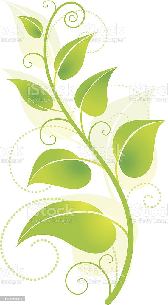 Green vine growing from the bottom of the page vector art illustration