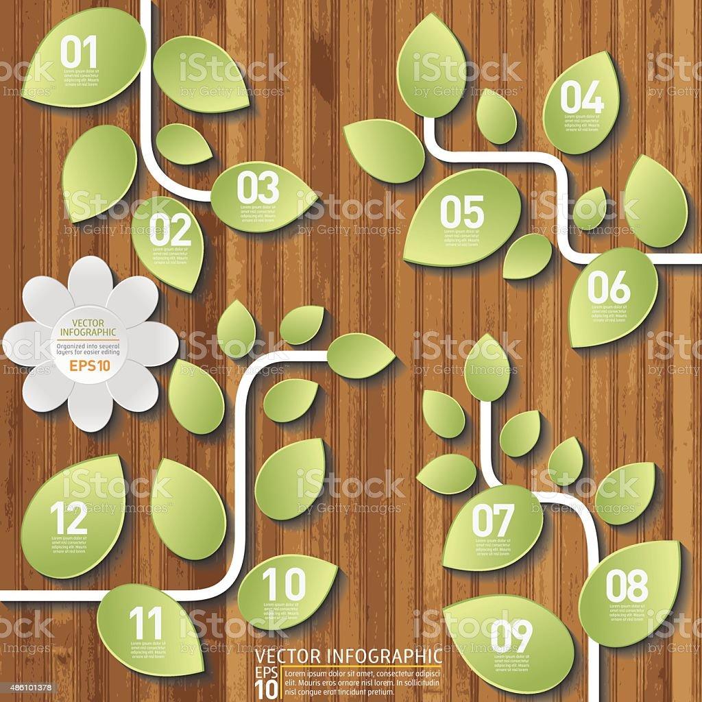 Green Vine Plants Infographic On A Wood Base vector art illustration