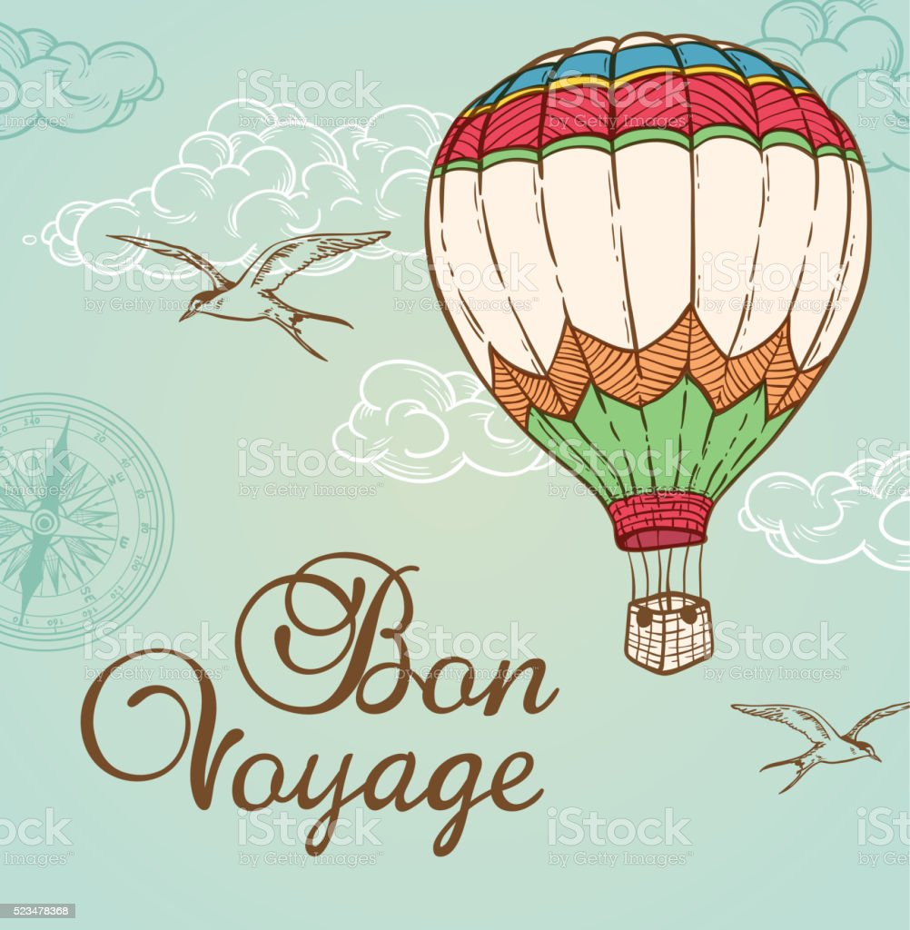 Green vintage background with air balloon vector art illustration