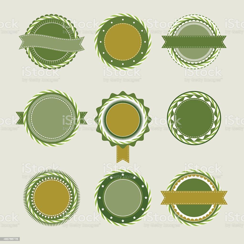 Green vintage badges templates vector art illustration