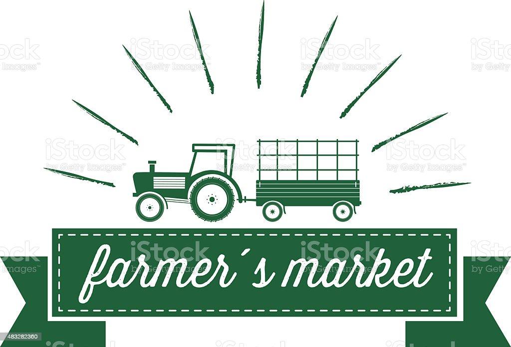 green vintage farmers market label on white vector art illustration