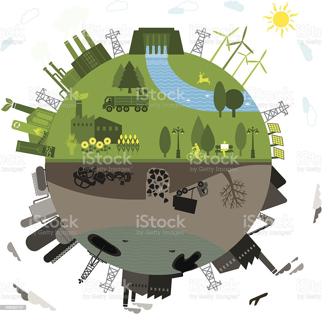 Green vs. polluted vector art illustration