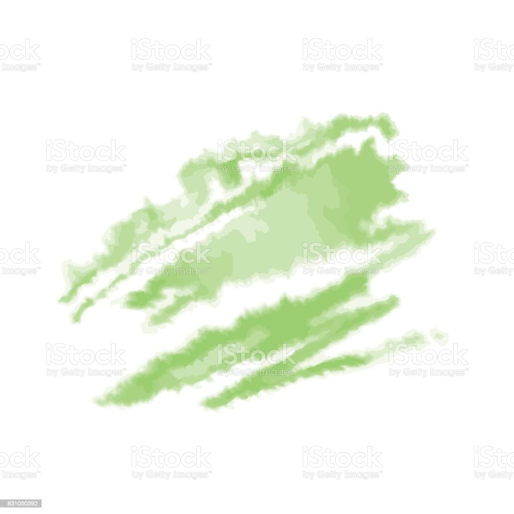 Green watercolor blot isolated on white background. Vector illustration. vector art illustration