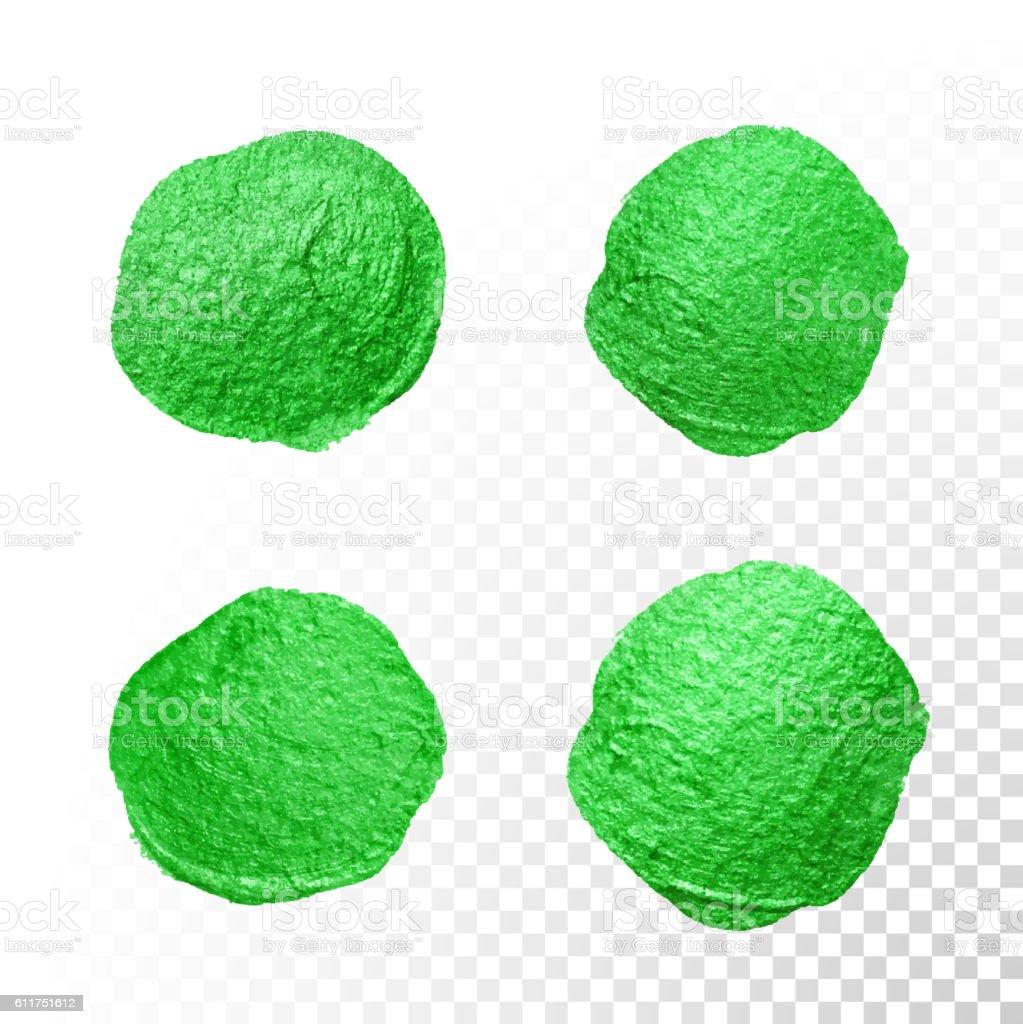 Green watercolor brush blob. Vector oil paint smear. Polish stains. vector art illustration