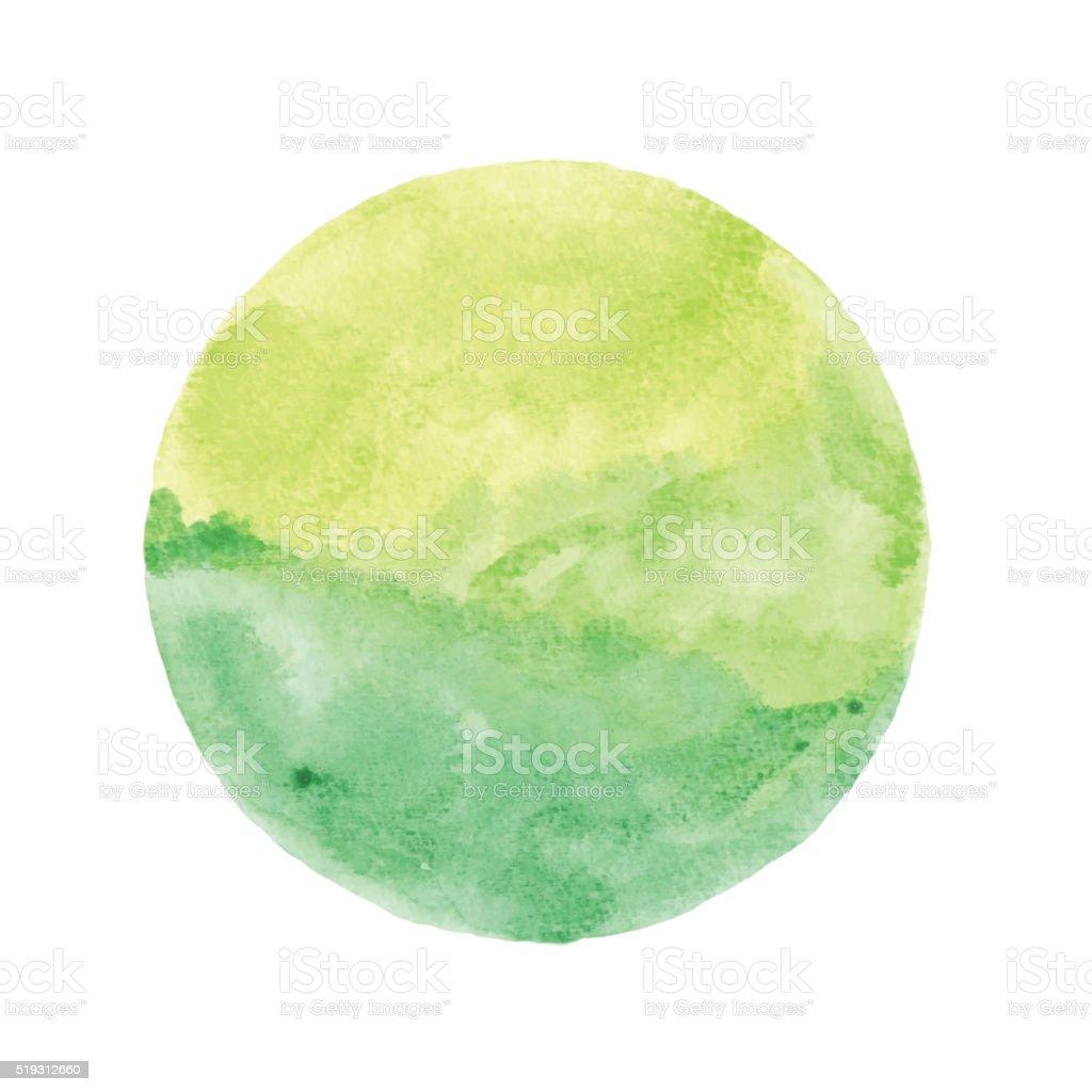 Green Watercolor Circle vector art illustration