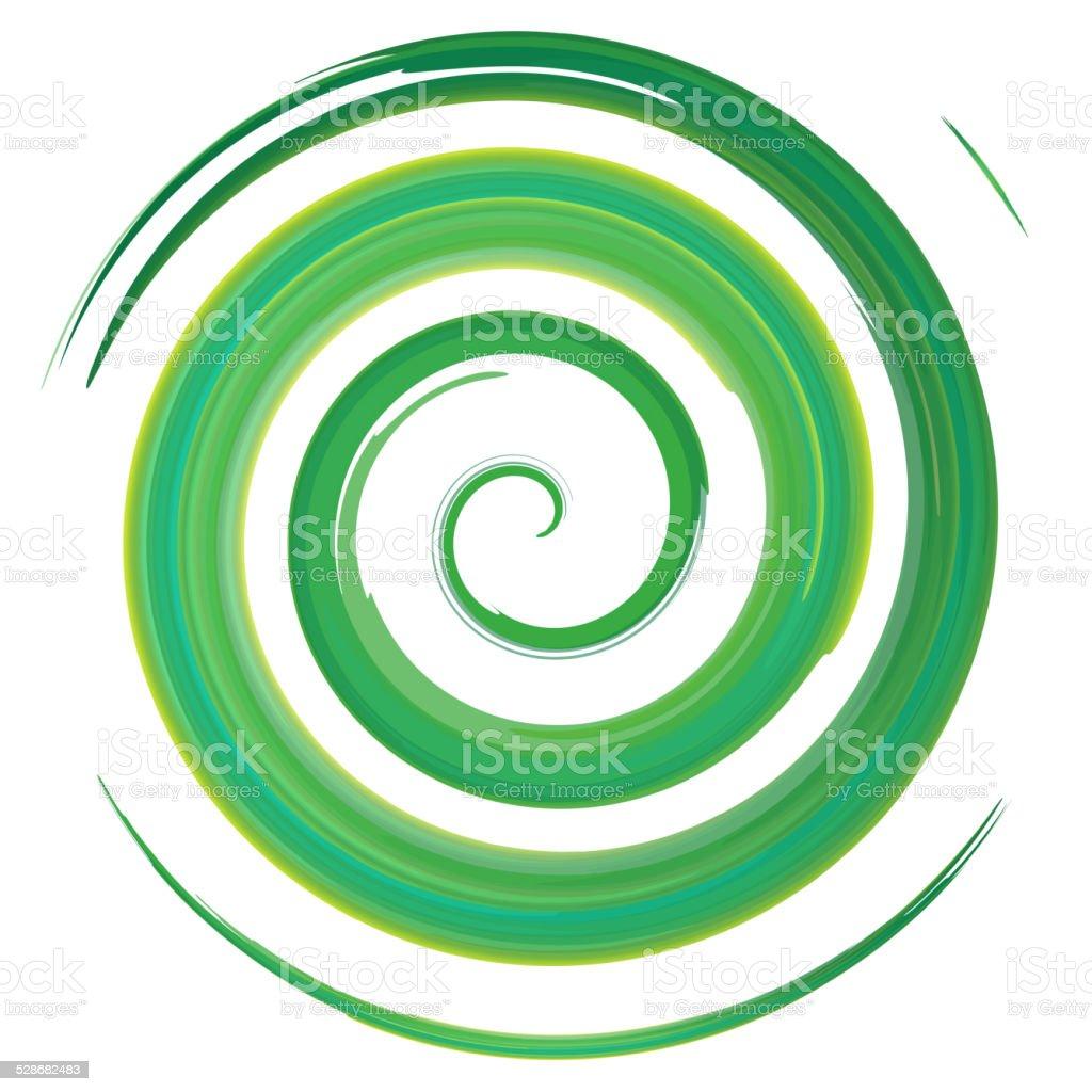 green watercolor spiral, vector illustration vector art illustration