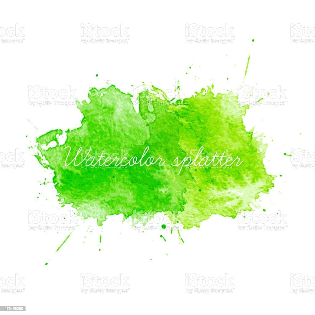 Green Watercolor splatters. Vector illustration vector art illustration