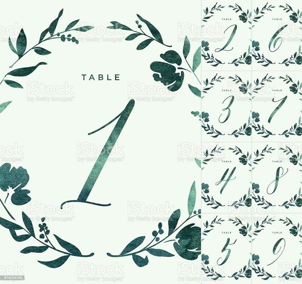 Green Watercolour Wedding Table Numbers vector art illustration